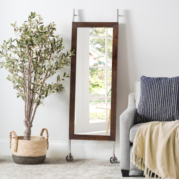 Metal and Wood Rolling Mirror