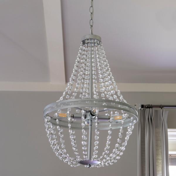 Crystal Silver 4 Light Chandelier Kirklands