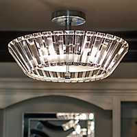 Crystal 3-Light Semi-Flush Fixture