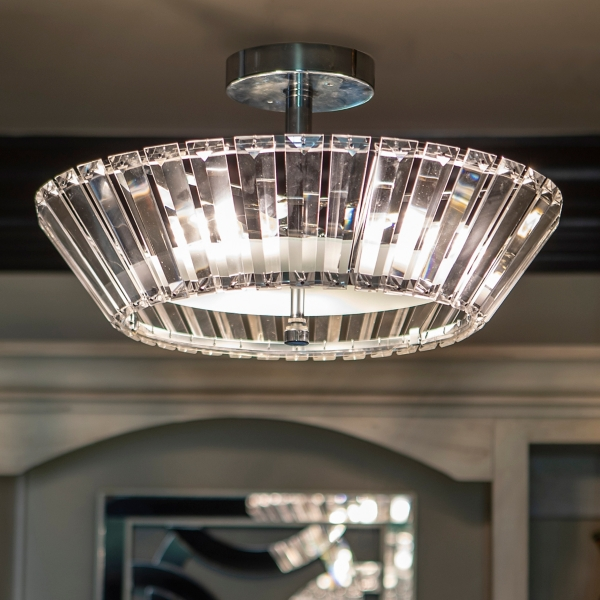 Crystal 3-Light Semi-Flush Fixture