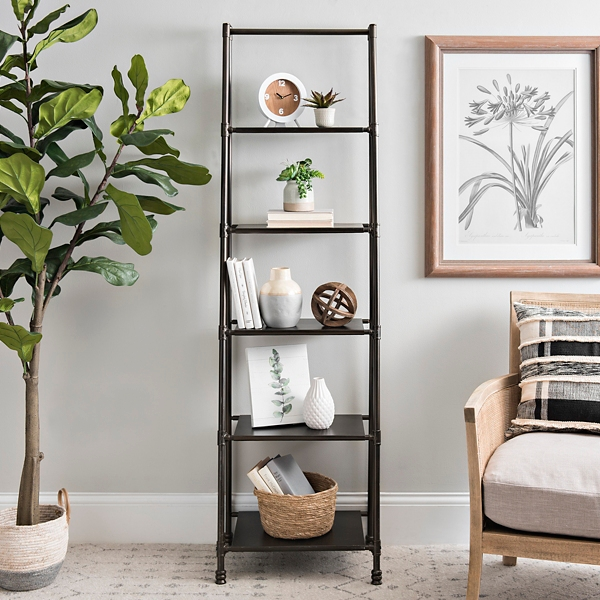 Black Iron 5-Tier Ladder Shelf