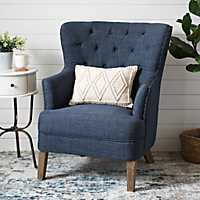 Navy Tufted Accent Chair with Nailhead Trim
