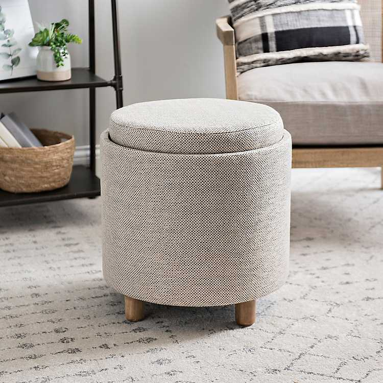 Phenomenal Beige Fabric Storage Ottoman With Tray Ibusinesslaw Wood Chair Design Ideas Ibusinesslaworg