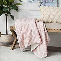 Blush Woven Gingham and Sherpa Throw