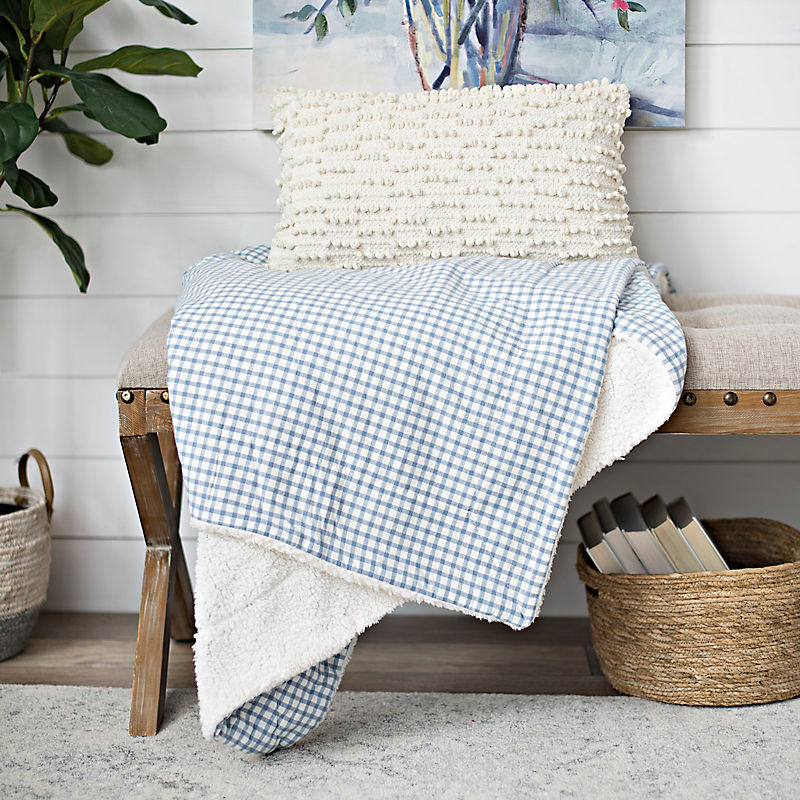 Slate Woven Gingham and Sherpa Throw