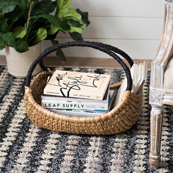 Natural Oval Basket with Black Handle