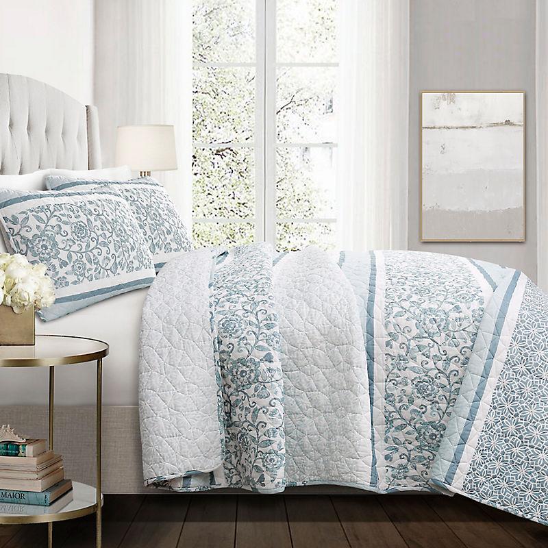 Blue Nisha Floral King 3 Pc Quilt Set