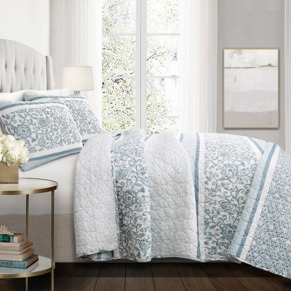 Blue Nisha Floral King 3 Pc Quilt Set