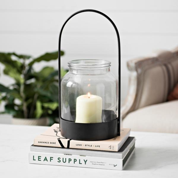Black Oval Handle Lantern with Glass Hurricane