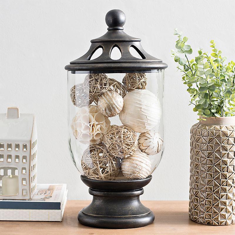 Black and Glass Oval Potpourri Jar