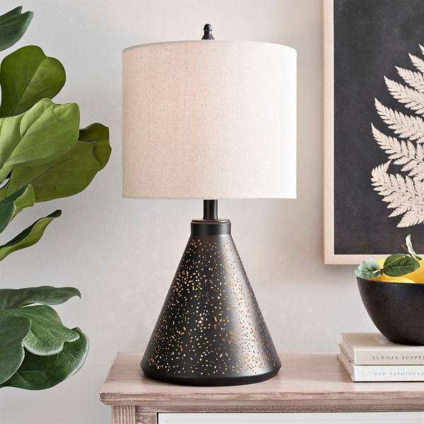 Black Cut-Out Metal Table Lamp and Night Light