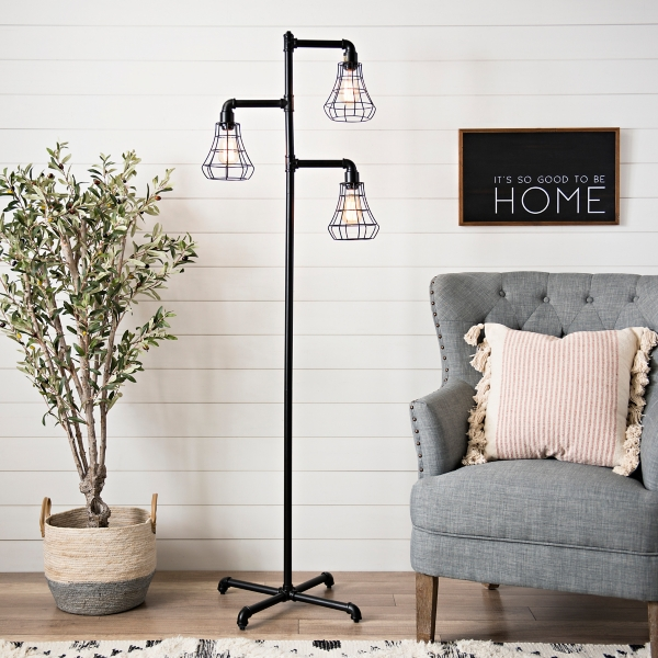 Turner Triple Cage Pipe Floor Lamp