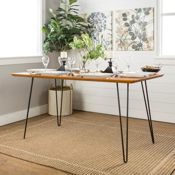 Modern Hairpin Rectangular Walnut Dining Table