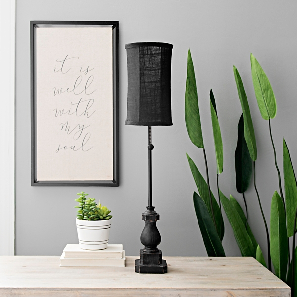 Black Margot Candlestick Buffet Lamp