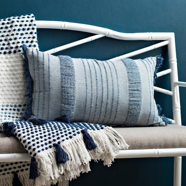 Navy Berri Stripe Accent Pillow