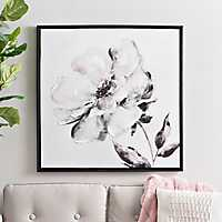 Black and White Floral Watercolor Framed Art Print