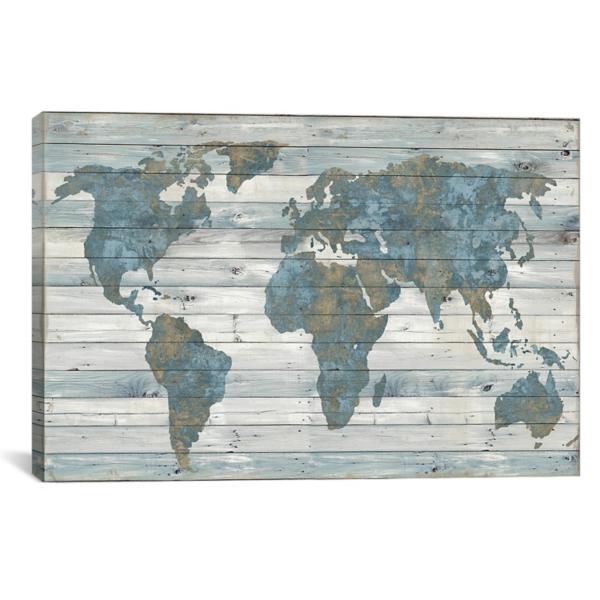 World Map on Wood Plank Canvas Art Print | Kirklands