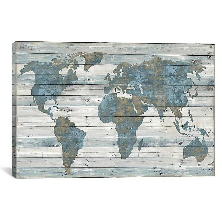 World Map on Wood Plank Canvas Art Print