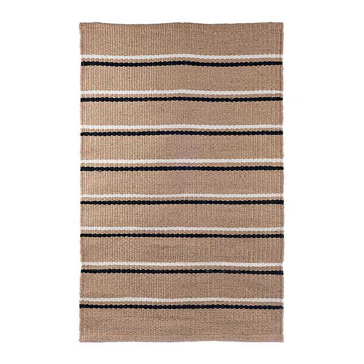 Black And Cream Stripe Ter Rug