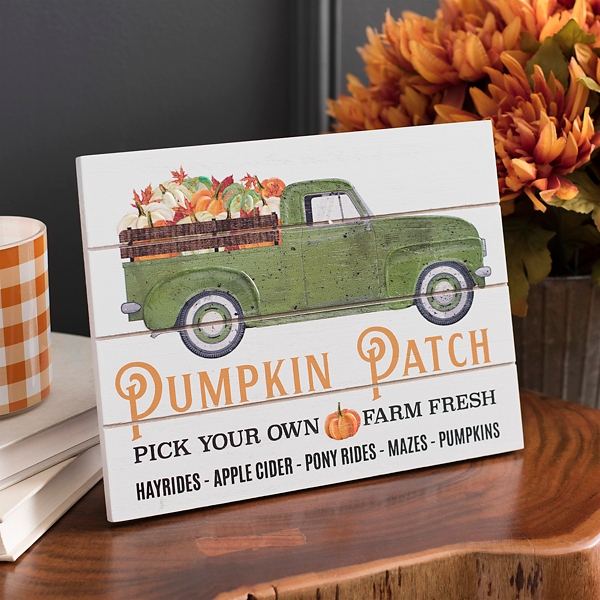 Pumpkin Patch Truck Easel Back Wood Art