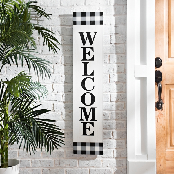 Black Gingham Welcome Porch Board