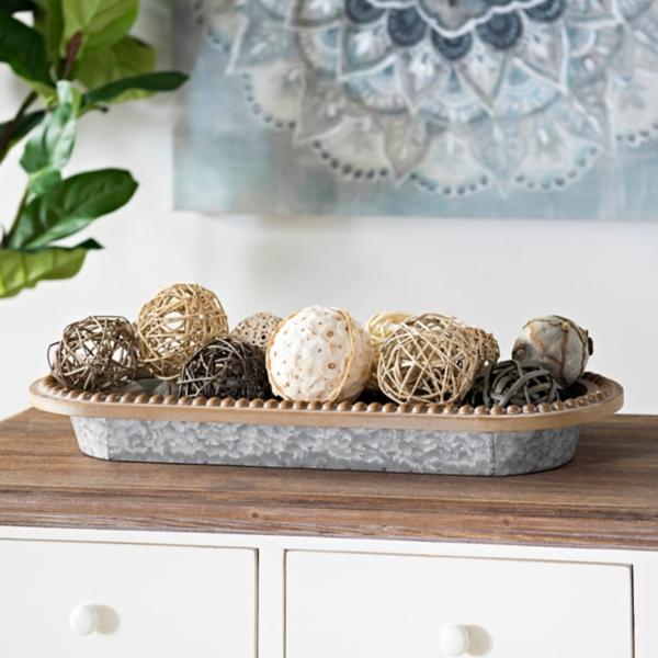 Galvanized Bowl with Wood Beaded Rim