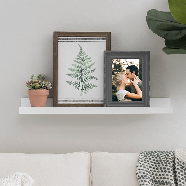 White Wood Wall Shelf with Lip
