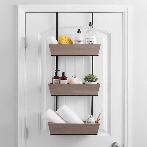 Triple Wood Over The Door Hanging Baskets