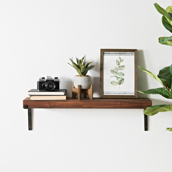 Woodtone Wall Shelf with Metal Accents