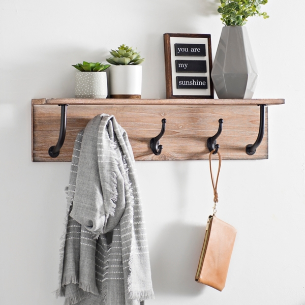 new style c4e40 97392 Natural Wood Wall Shelf with Cast Hooks | Kirklands