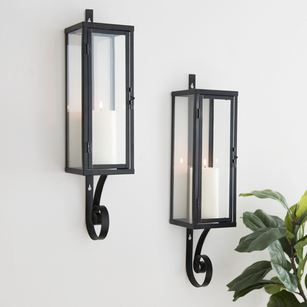 Black Metal Collin Wall Sconces, Set of 2
