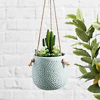 Pastel Aqua Embossed Hanging Planter