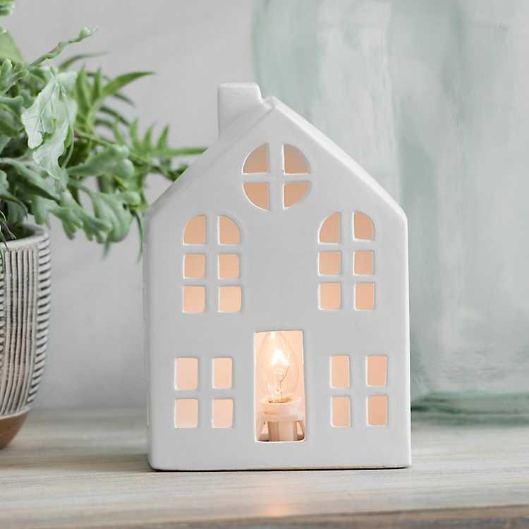 White Ceramic House Night Light Kirklands