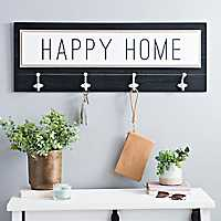 Happy Home Wood Plaque with Hooks