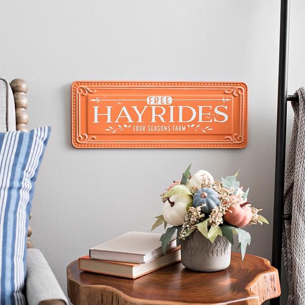 Orange Hayrides Fall Wall Plaque