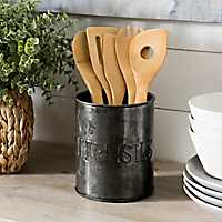 Black Galvanized Embossed Utensil Crock