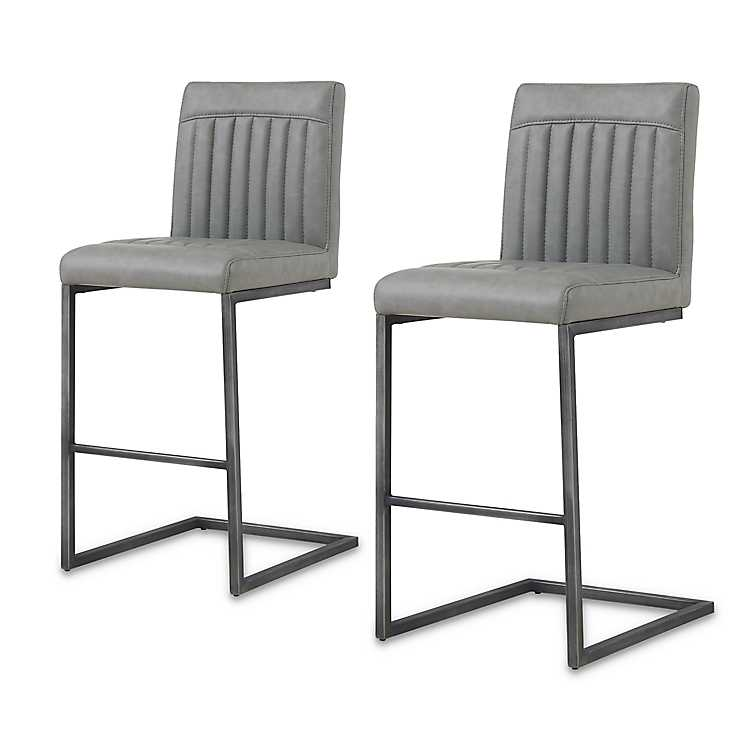 Miraculous Gray Roanoke Faux Leather Counter Stools Set Of 2 Cjindustries Chair Design For Home Cjindustriesco