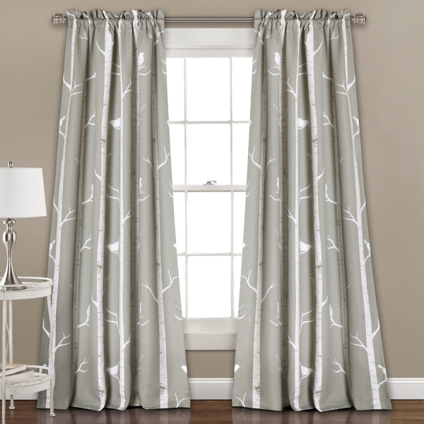 Gray Bird on the Tree Curtain Panel Set