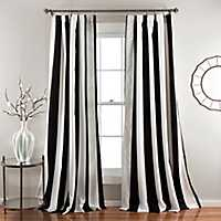 lack and White Stripe Curtain Panel Set