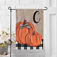 Buffalo Check and Pumpkin Monogram C Fall Flag