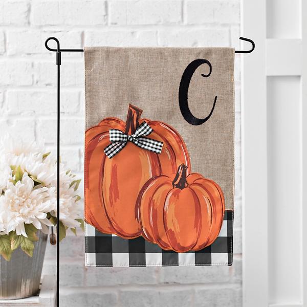 Buffalo Check and Pumpkin Monogram C Fall Flag