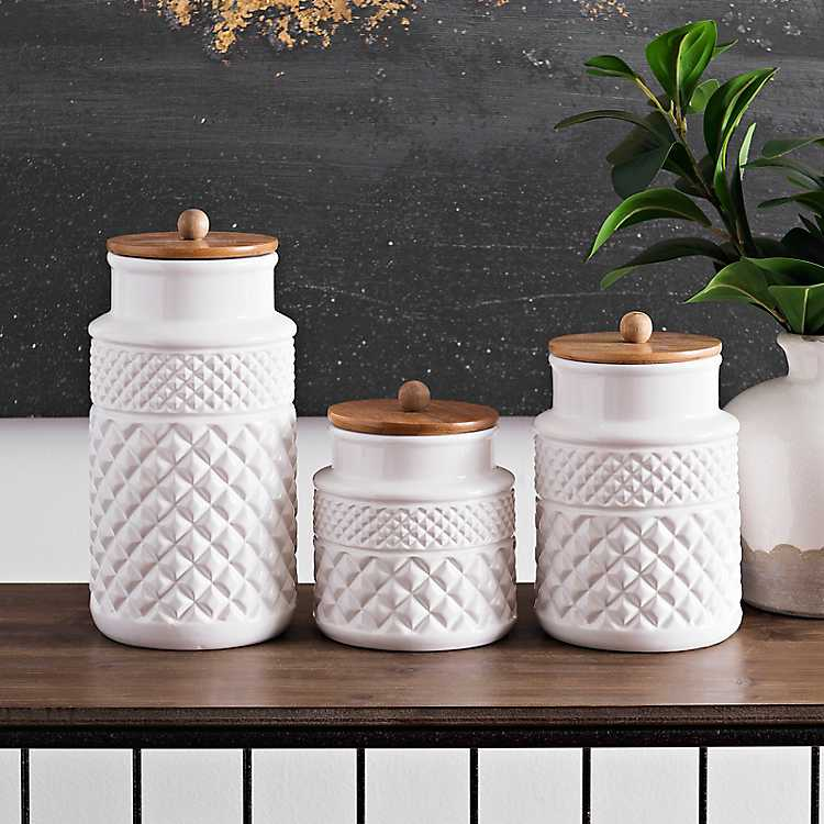 White Embossed Canisters With Wood Lids