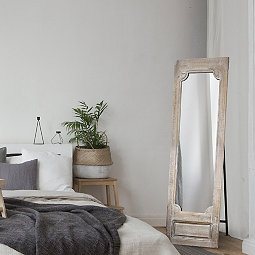 Whitewash Full Length Mirror With Easel
