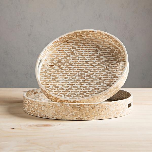 Set of 2 Tan Fish Seashell Trays