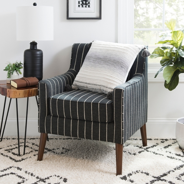 Black and White Striped Evie Accent Chair