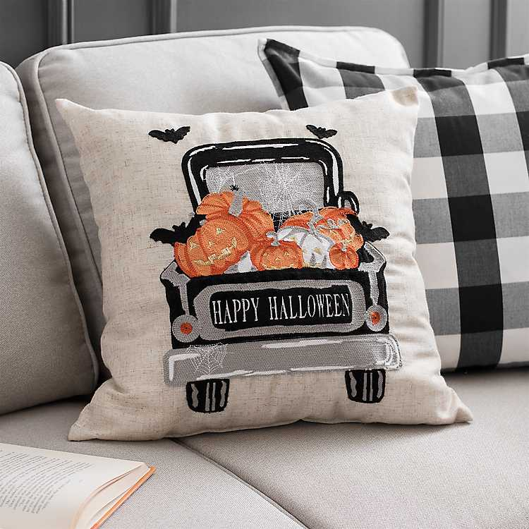 Halloween Forum 2020 Kirklands Happy Halloween Truck Pillow | Kirklands