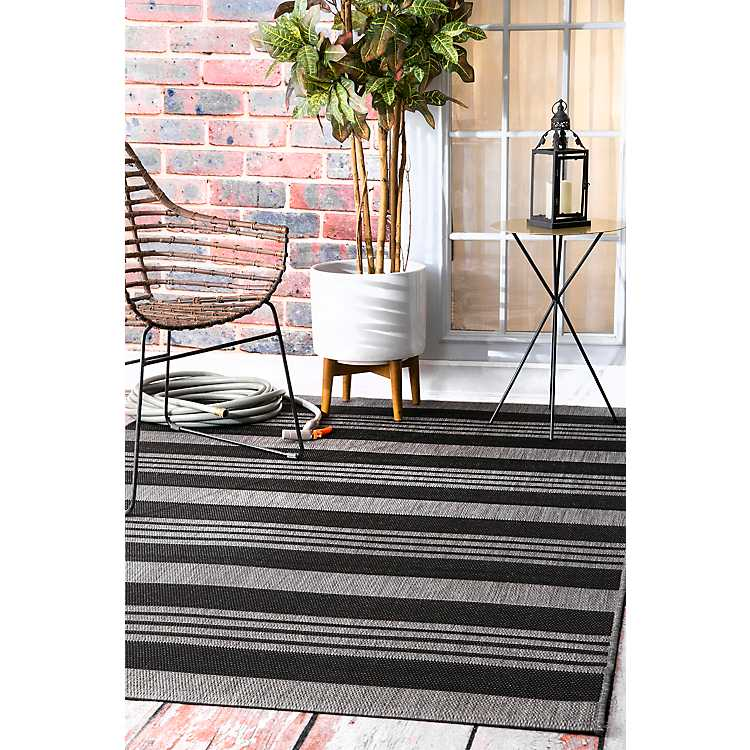 Gray Robin Stripe Outdoor Rug, 8x11
