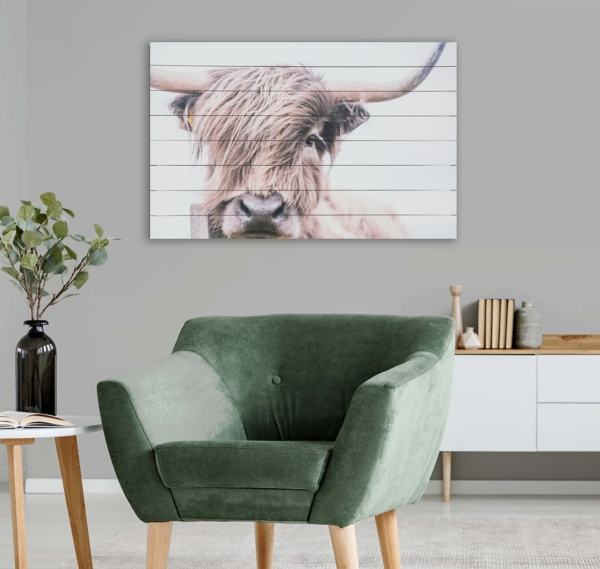 Highland Cow Wood Art Print