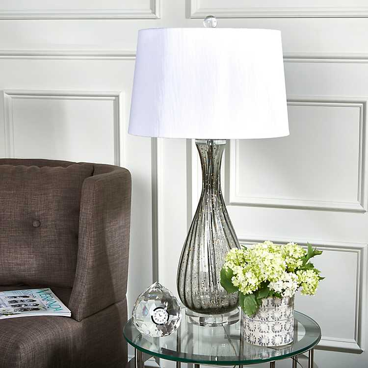 Speckle Smoke Glass Art Table Lamp