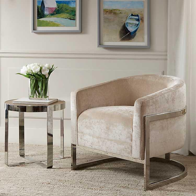 Magnificent Ivory Mia Velvet Barrel Accent Chair Short Links Chair Design For Home Short Linksinfo